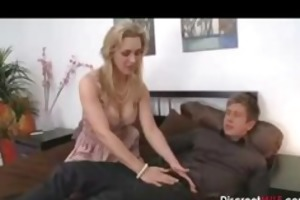 horny mom with juvenile guy in bedroom