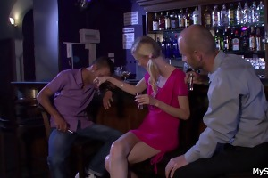 boozed golden-haired gf cheating with oldman