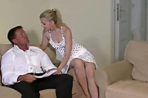 he finds his sexy gf with his daddy