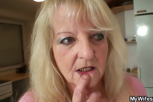golden-haired mother in law rides his big pecker