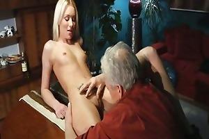 attractive blonde hottie has wild sex with old