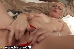 concupiscent golden-haired old lady loves fucking