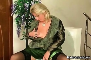 busty granny is spanked by slutty youthful part1