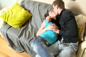 teen sister have some pleasure in the bed with