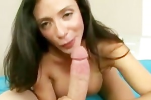 sexually excited milf masturbates then blowjob