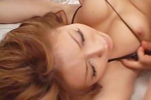 fit japanese cougar bonks in a miniature bikini