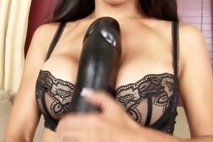 breasty oriental babe riding a brutal brown dildo