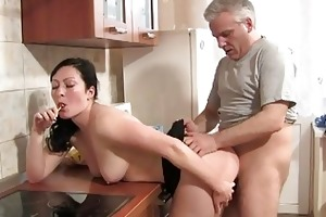 hot bitches fucking old farts in the kitchen