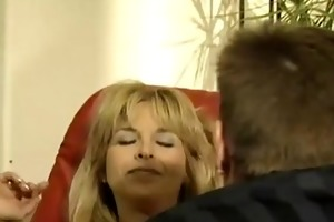 aged housewife fucked on red daybed