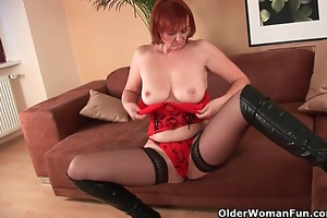 sleazy grandma in stockings fist copulates her