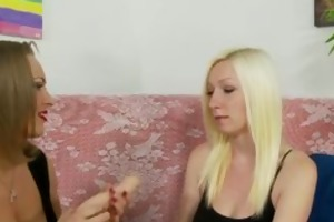 golden-haired mother and daughter ramrod sucking