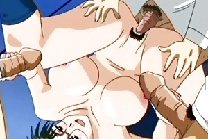 anime brunette gets banged by old weenies