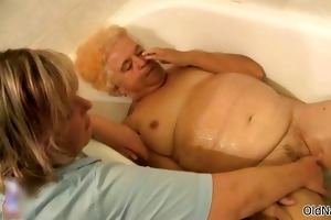 nasty old woman acquires her bushy cum-hole