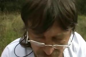nurse treats old shlong outdoors