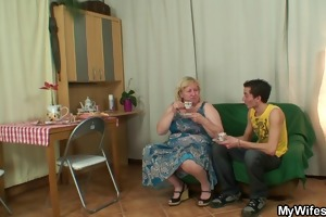 giant granny is group-fucked by her sons friend