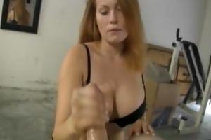 breasty redhead wants a large cumshot