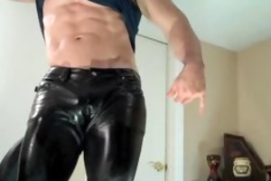 leather cum with muscle dude fin jockstrap