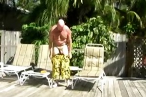 daddy chuck plays with himself and some sun lotion