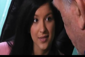 juvenile brunette hair gives her old teacher a