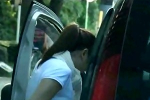 shy schoolgirl used in car