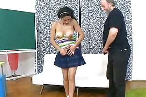 old teacher gives juvenile babe a drilling