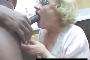 very mature white lady blows big black cock in