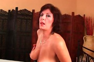 grandma with large tits and bushy pussy gets