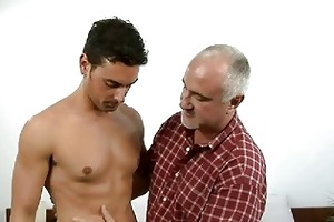 tanned muscled homosexual hunk and mature daddy