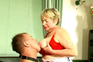 chubby blonde russian granny plays with a younger