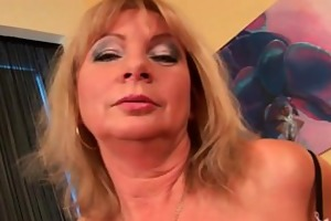 sexually excited grandma with big breasts finger