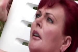 redhead granny sucks and copulates hard rod