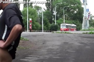 slim young teen in public threesome part 2