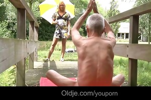 old guru teaches young monica some other gymnastic