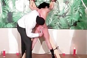old filthy whore enjoys in bondage
