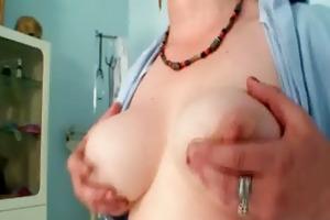 busty milf in uniform widens her unshaved vagina