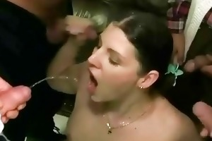 four grandpas pissing on young beauty