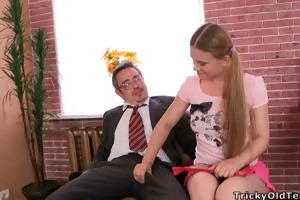 augustina gets a faceful of cum from her teacher
