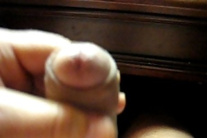66 yr old older man strokes his penis to make it