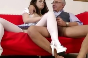 glamorous brunette hair fucked by old stud