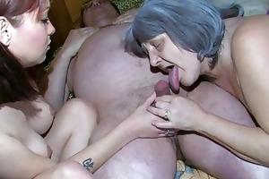 oldnanny old granny and grandpa is enjoying
