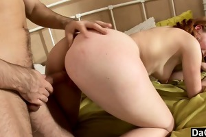 plowing a juvenile redheads pussy in her room