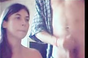 youthful amateur couple blow job recorded with a