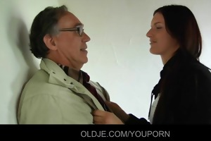 daring young beauty fucks an old realtor for fine