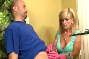 mature lady gloved cook jerking