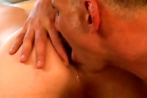 a twink receives an arse licking from his daddy