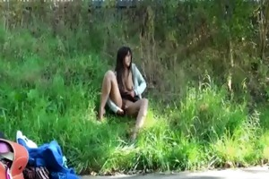 outdoors ebon masturbation and young darksome
