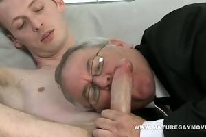 chubby dad acquires his ass drilled by slim