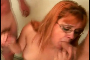 fat old woman sucks cocks and receives facial