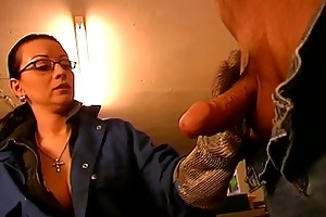 horny brunette milf playing with daddys giant old