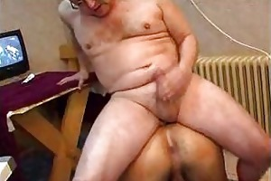 fat old man strokes his wang after anal fucking